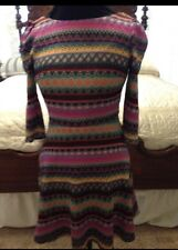 ARK & CO Colorful Knit Dress 3/4 Sleeve Deep V Neck In Back -Pretty!! Sz Small