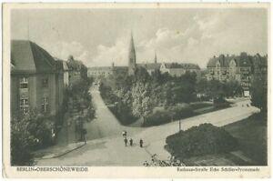 Berlin-Oberschöneweide, Rathausstraße Ecke Schiller-Promenade, alte Ak von 1932