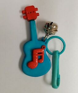 Vintage 80's Charms Blue Guitar 🎸 Music 🎵 Bell 🔔 Clip Necklace 80s keychain