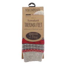 Homeknit Mens Thermal Socks UK 6-11 Red Winter Warm Fluffy Thick Stripy