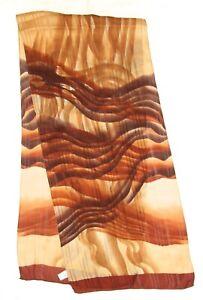 "Fashion ABSTRACT ART Beige Brown GEOMETRIC Satin Silk 55"" Long Scarf"