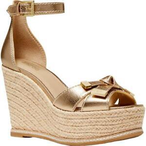Michael Kors Womens RIPLEY Metallic Ankle Strap Bow Espadrilles Shoes BHFO 7071