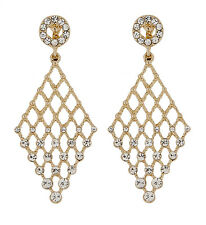 CLIP ON EARRINGS - gold plated chandelier earring with crystals - Annie G