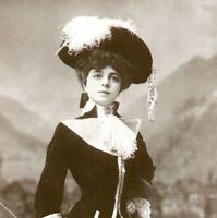 Vesta Tilley actress RPPC postcard antique portrait elegant costume hat crop