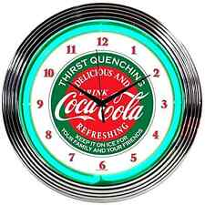 Classic Coca Cola Neon LED Sign Wall Clock Vintage Antique Retro Mancave Bar Pub