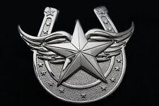 Men Western Belt Buckle Silver Metal Texas State Lone Star Horseshoe Wings Luck