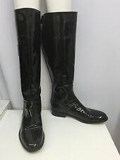 CHANEL PATENT LEATHER BOOTS BLACK TALL RIDING STYLE CC LOGO SIZE 40 1/2