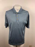 Men's Nike Golf Dri Fit Short Sleeve Polo Shirt Size Medium M Blue Striped Used
