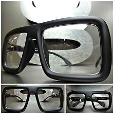 2a5cd06c17 Mens Women OVERSIZE VINTAGE RETRO Clear Lens EYE GLASSES Large Matte Black  Frame