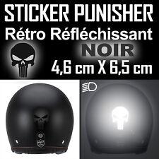 AUTOCOLLANT PUNISHER NOIR REFLECHISSANT REFLECTIVE TETE DE MORT CASQUE SKULL