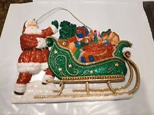 Vintage Christmas Santa Claus & Sleigh Plastic Glitter Hanging Sign Decoration