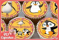 Feliz cuadragésimo aniversario Azul Comestibles Toppers Oblea O Glaseado Cupcake X 12 Decoración