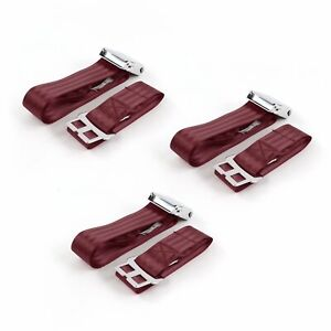 Early Cars 1941 - 1948 Airplane 2pt Burgandy Lap Bench Seat Belt Kit - 3 Belts