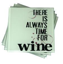 Conjunto de 4 Posavasos De Vidrio vinícola siempre tiempo para Mesa Mat protectores Bar 142-610