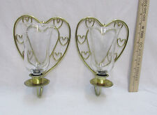 Vintage Heart Wall Sconce Candle Holders Gold Tone Homco Home Interiors Lot of 2