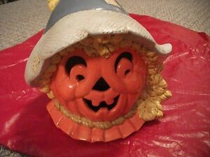 Vintage Hand Painted Halloween Ceramic Scarecrow Pumpkin Jack O' Lantern!