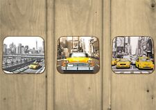 NYC New York City Coasters - Set Of 3 - Premium Hardboard - Times Square - Gifts
