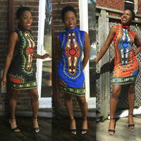 Women's Summer Traditional African Print Sleeveless High Collar Sexy Dress