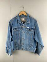 Falmer Mens Blue Vintage Cotton Long Sleeves Denim Button Up Jacket Size Large