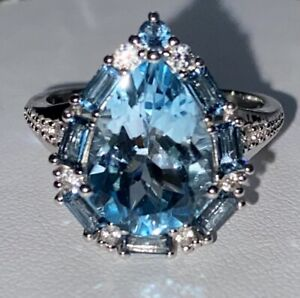 Victoria Wieck Blue Topaz, White Zircon And Sterling Silver Ring Size 10