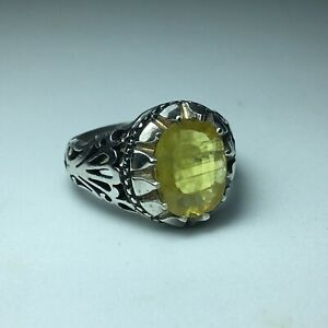 Natural Yellow Sapphire hand made engraved silver ring DHL SHIPPING ياقوت اصفر