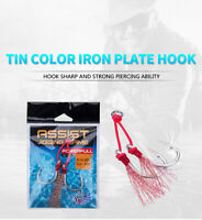 Strong Assist Double Hooks Metal Barbed Jig Fishing Jigging Hook with PE Line