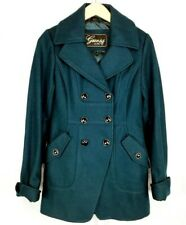 Guess Womens Size XS Teal Trench Coat Wool Flip Cuff Button Front