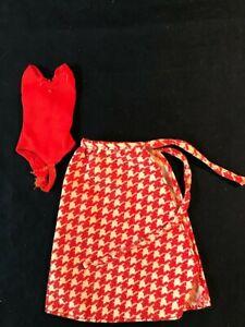 ORIGINAL 1975 Growing Up Skipper 7259 RED BODYSUIT & LONG HOUNDSTOOTH SKIRT