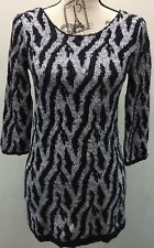 Long Sweater Dress Animal Print Cable Knit Black White One Size 3/4 Sleeve