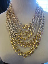 NECKLACE 5 strands bulky gold link chain