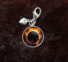 925 Sterling Silver Charm Solar Total Eclipse Sun Moon Astronomy