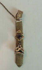 """ANTIQUE """"F.M.Co."""" GOLD FILLED MESH POCKET WATCH CHAIN with FOB"""