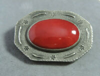 British Vintage Red Jasper Cabochon Stone Silver Flower Brooch Pin Cg 58