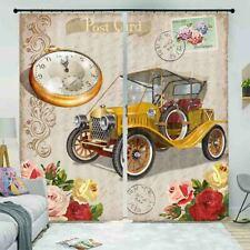 Yellow Truck Car Clock 3D Curtain Blockout Photo Printing Curtains Drape Fabric