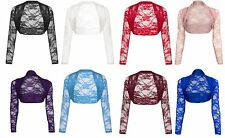 Womens Cropped Lace Shrug Ladies Bolero Fancy Dress Parties Cardigan Summer Top