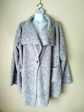 Hugs From Soft Surroundings Women's Grey Cardi Plush Cardigan Sweater Sz 18-24