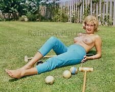 B175 8x10 BUSTY 1960s Croquet Nude, SALLY LIPPO * BIG BEAUTIFUL BREASTS! (NUDES)