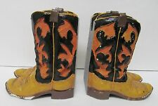 Figi Graphics Book Ends Art Distressed Happy Trails 1995 Resin Cowboy Boots Vtg