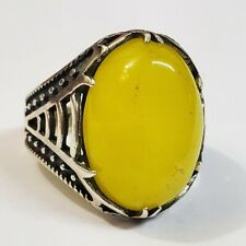 925 sterling silver natural sharaf al shams sharaf shams yellow agate aqeeq ring