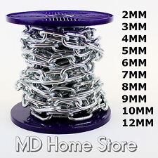 Strong Heavy Duty Steel Chain BZP Bright Zinc Plated Side Welded Security Links