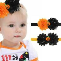 Children Halloween Bow Pumpkin Baby Headband Newborn Hair Headwear Rope Cut R9E4