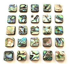 12 RAINBOW ABALONE SQUARE BEADS-12MM MOTHER OF PEARL/PAUA SHELL-DOUBLE SIDED