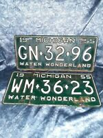 1955 Michigan License Plate Original lot GN 32 96 & WM 36 23 VINTAGE PR MAN CAVE