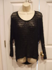 NWT $34 CALIFORNIA  GYPSY BLACK OPEN WEAVE Long Sleeve Knit SWEATER SIZE XSMALL