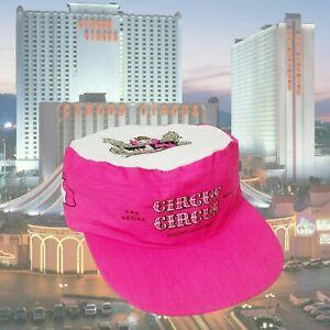 Vtg Circus Circus Snapback Cap Painters Hat Pink White Las Vegas Casino Hotel