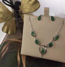 Unique Estate Jade 14k Gold & Diamond (Necklace/Earrings ) Set