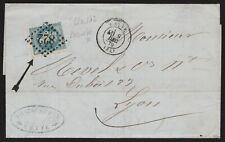 """1870 - FRANCIA LETTERA CON NAPOLEONE """"LAUREATO"""" CON BELLA FALLA DI STAMPA"""