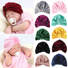 Baby Newborn Toddler Kids Boy Girl Indian Turban Knot Soft Velvet Beanie Hat Cap
