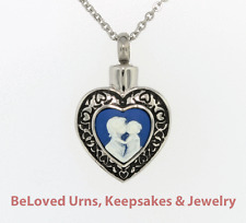 "Mother And Child Heart Cremation Jewelry Keepsake Urn with 20"" Necklace - Funnel"