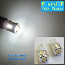 2x T10 W5W 501 Wedge LED Bulb 6x5630 Chip Bright Xenon White LED!